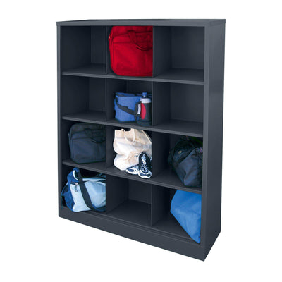 Cubby Storage Organizer, 12 Sections, 46 x 18 x 66, Charcoal