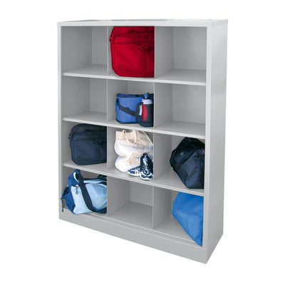 Cubby Storage Organizer, 12 Sections, 46 x 18 x 66, Dove Gray