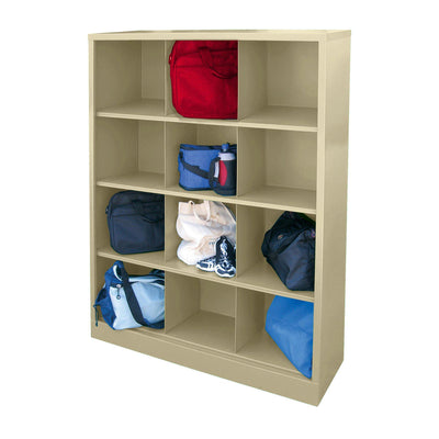 Cubby Storage Organizer, 12 Sections, 46 x 18 x 66, Putty