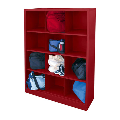 Cubby Storage Organizer, 12 Sections, 46 x 18 x 66, Red