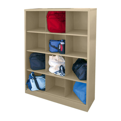 Cubby Storage Organizer, 12 Sections, 46 x 18 x 66, Tropic Sand