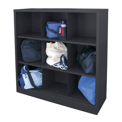 Cubby Storage Organizer, 9 Sections, 46 x 18 x 52, Black
