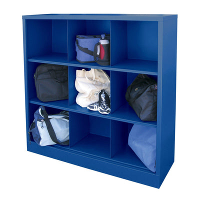 Cubby Storage Organizer, 9 Sections, 46 x 18 x 52, Blue