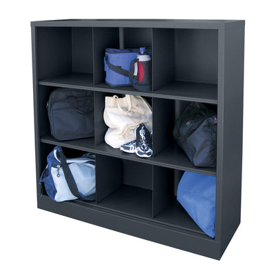 Cubby Storage Organizer, 9 Sections, 46 x 18 x 52, Charcoal