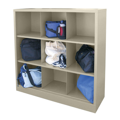 Cubby Storage Organizer, 9 Sections, 46 x 18 x 52, Putty