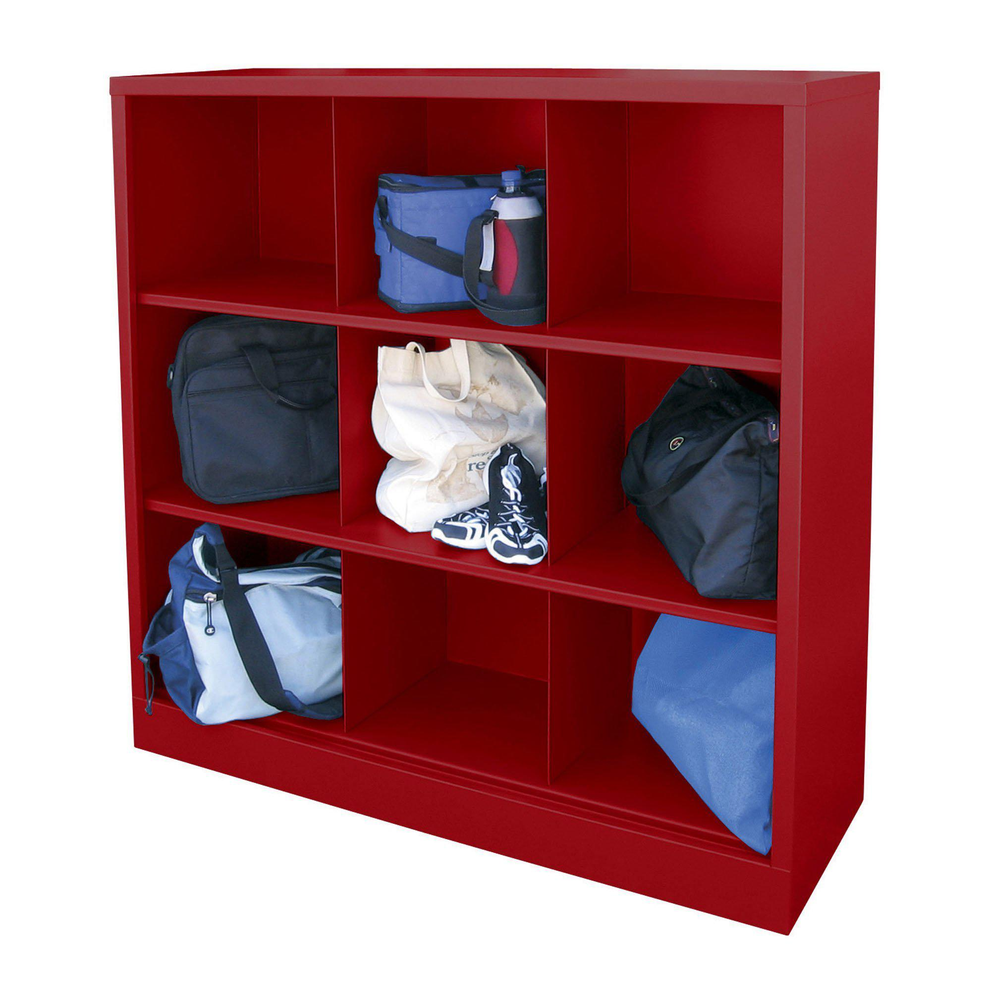 Cubby Storage Organizer, 9 Sections, 46 x 18 x 52, Red