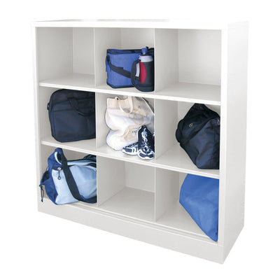 Cubby Storage Organizer, 9 Sections, 46 x 18 x 52, White
