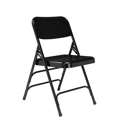 Deluxe All-Steel Triple Brace Double Hinge Folding Chair (Carton of 4)-Chairs-Black-