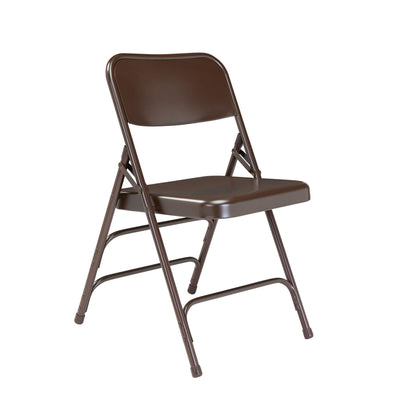 Deluxe All-Steel Triple Brace Double Hinge Folding Chair (Carton of 4)-Chairs-Brown-