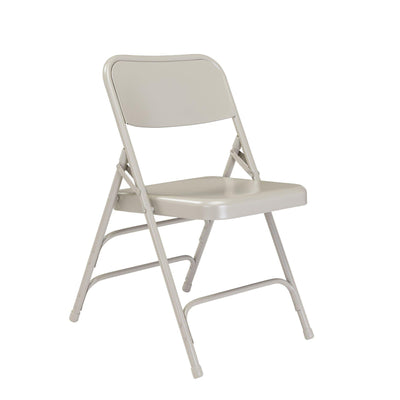 Deluxe All-Steel Triple Brace Double Hinge Folding Chair (Carton of 4)-Chairs-Grey-