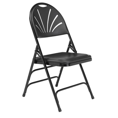 Deluxe Fan Back Double Hinge Folding Chair With Triple Brace (Carton of 4)-Chairs-Black Plastic/Black Frame-