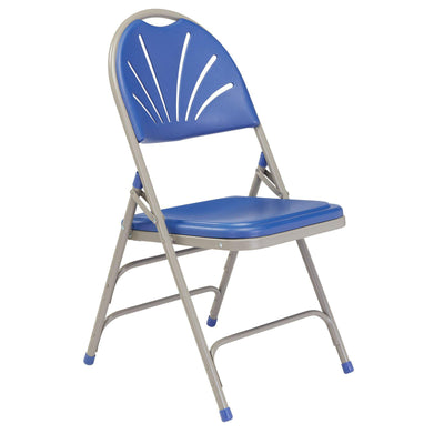 Deluxe Fan Back Double Hinge Folding Chair With Triple Brace (Carton of 4)-Chairs-Blue Plastic/Grey Frame-