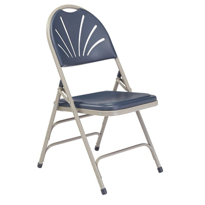 Deluxe Fan Back Double Hinge Folding Chair With Triple Brace (Carton of 4)-Chairs-Dark Blue Plastic/Grey Frame-