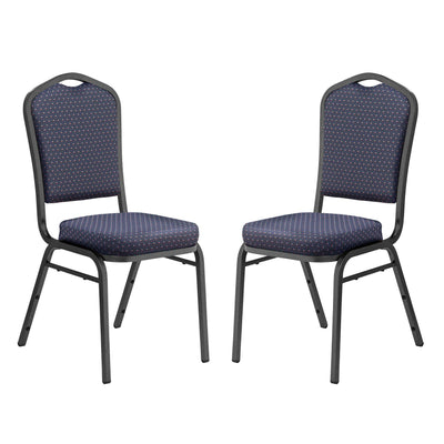 Deluxe Upholstered Silhouette Stack Chair-Chairs-Diamond Navy Fabric/Silvervein Frame-