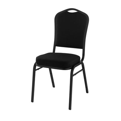 Deluxe Upholstered Silhouette Stack Chair-Chairs-Ebony Black Fabric/Black Sandtex Frame-