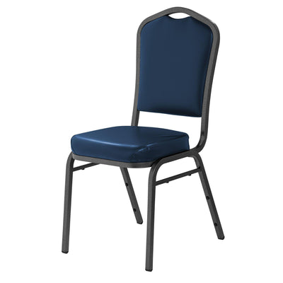 Deluxe Upholstered Silhouette Stack Chair-Chairs-Midnight Blue Vinyl/Silvervein Frame-