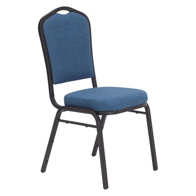 Deluxe Upholstered Silhouette Stack Chair-Chairs-Natural Blue Fabric/Black Sandtex Frame-