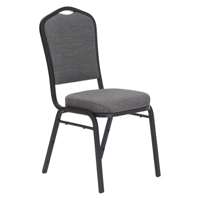 Deluxe Upholstered Silhouette Stack Chair-Chairs-Natural Greystone Fabric/Black Sandtex Frame-