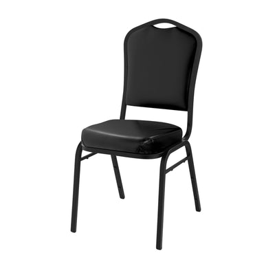 Deluxe Upholstered Silhouette Stack Chair-Chairs-Panther Black Vinyl/Black Sandtex Frame-