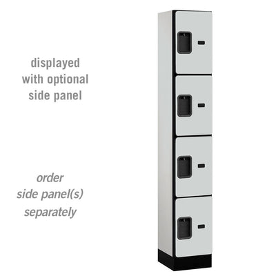 "Designer Wood Lockers, 12""-Wide Four Tier, 6 Feet High, 15"" Deep-Lockers-1 Wide-Gray-"