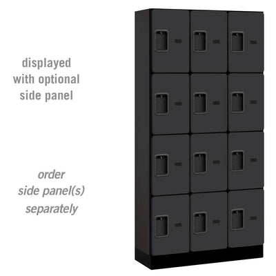 "Designer Wood Lockers, 12""-Wide Four Tier, 6 Feet High, 15"" Deep-Lockers-3 Wide-Black-"