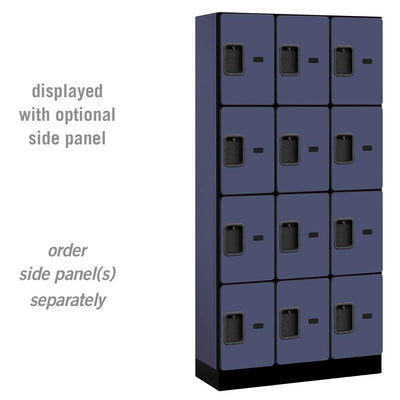 "Designer Wood Lockers, 12""-Wide Four Tier, 6 Feet High, 15"" Deep-Lockers-3 Wide-Blue-"