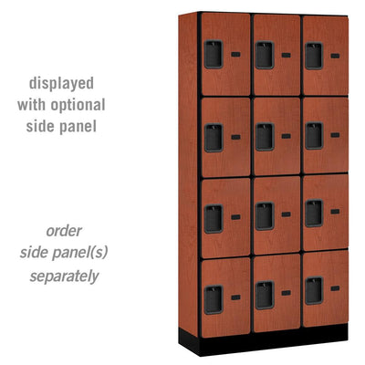 "Designer Wood Lockers, 12""-Wide Four Tier, 6 Feet High, 15"" Deep-Lockers-3 Wide-Cherry-"
