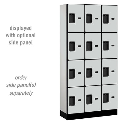 "Designer Wood Lockers, 12""-Wide Four Tier, 6 Feet High, 15"" Deep-Lockers-3 Wide-Gray-"