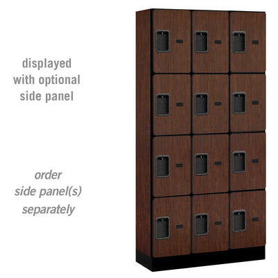 "Designer Wood Lockers, 12""-Wide Four Tier, 6 Feet High, 15"" Deep-Lockers-3 Wide-Mahogany-"