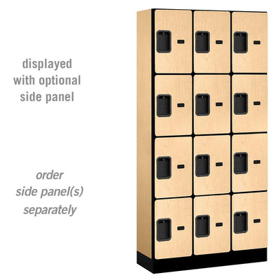 "Designer Wood Lockers, 12""-Wide Four Tier, 6 Feet High, 15"" Deep-Lockers-3 Wide-Maple-"