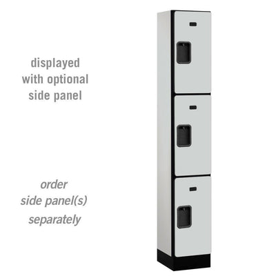 "Designer Wood Lockers, 12""-Wide Triple Tier, 6 Feet High, 15"" Deep-Lockers-1 Wide-Gray-"