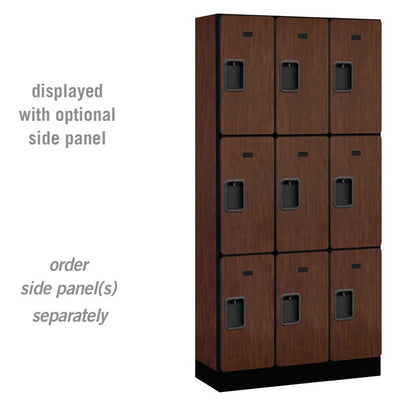 "Designer Wood Lockers, 12""-Wide Triple Tier, 6 Feet High, 15"" Deep-Lockers-3 Wide-Mahogany-"