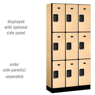 "Designer Wood Lockers, 12""-Wide Triple Tier, 6 Feet High, 15"" Deep-Lockers-3 Wide-Maple-"
