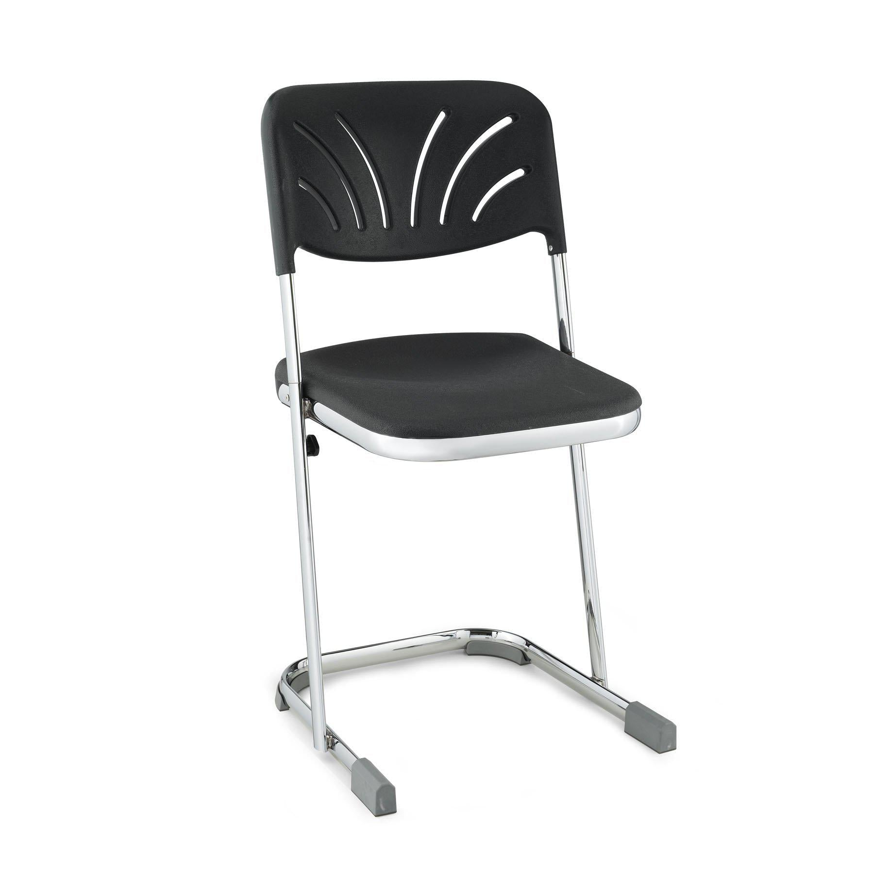"Elephant Z-Stool With Backrest, Black Seat and Chrome Frame-Stools-18""-"