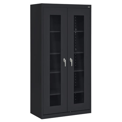 Elite Series Clear View See Thru Storage Cabinet, 36 x 18 x 72, Black
