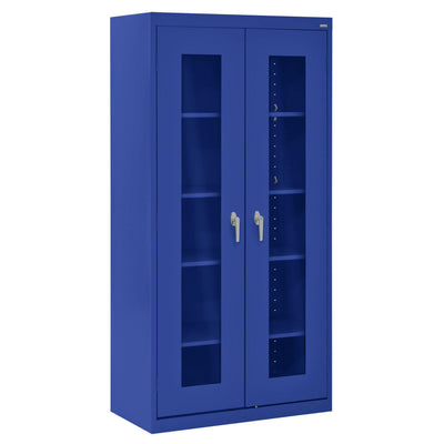 Elite Series Clear View See Thru Storage Cabinet, 36 x 18 x 72, Blue