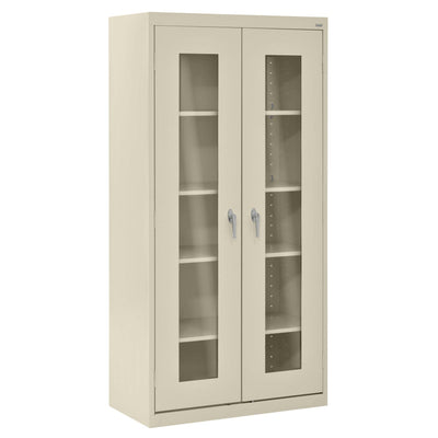 Elite Series Clear View See Thru Storage Cabinet, 36 x 18 x 72, Putty