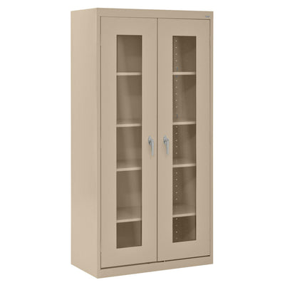 Elite Series Clear View See Thru Storage Cabinet, 36 x 18 x 72, Tropic Sand