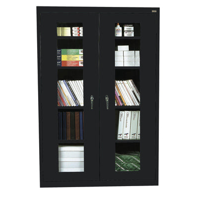 Elite Series Clear View See Thru Storage Cabinet, 46 x 18 x 72, Black