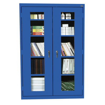 Elite Series Clear View See Thru Storage Cabinet, 46 x 18 x 72, Blue