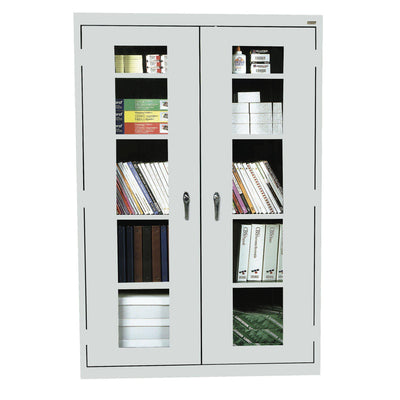 Elite Series Clear View See Thru Storage Cabinet, 46 x 18 x 72, Dove Gray