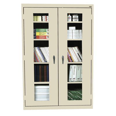 Elite Series Clear View See Thru Storage Cabinet, 46 x 18 x 72, Putty