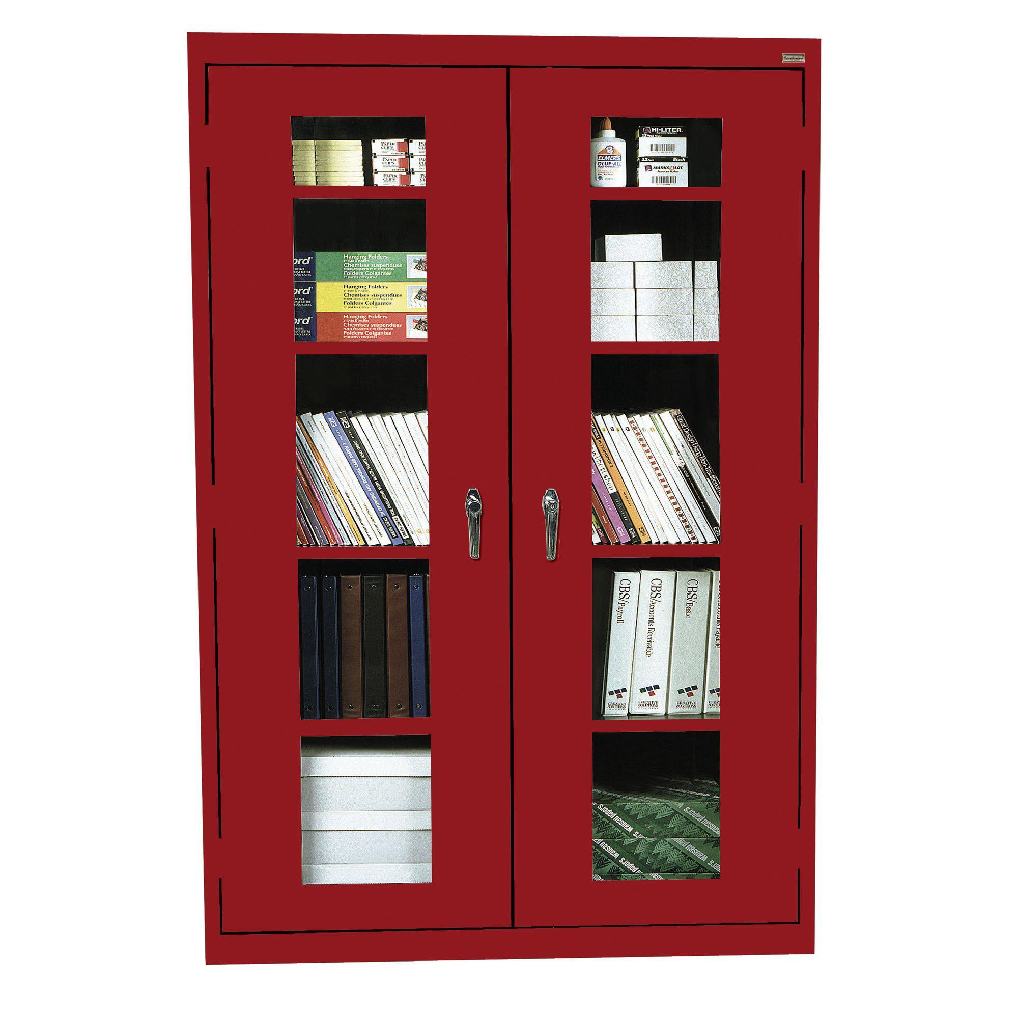 Elite Series Clear View See Thru Storage Cabinet, 46 x 18 x 72, Red