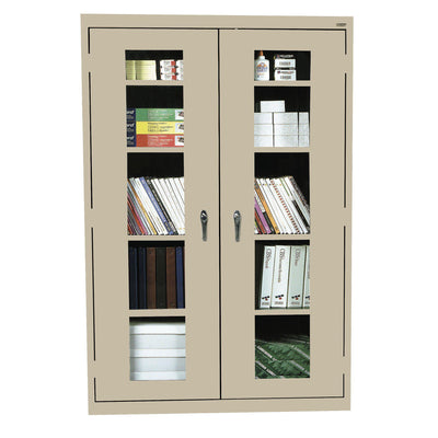 Elite Series Clear View See Thru Storage Cabinet, 46 x 18 x 72, Tropic Sand
