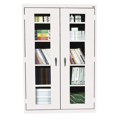 Elite Series Clear View See Thru Storage Cabinet, 46 x 18 x 72, White