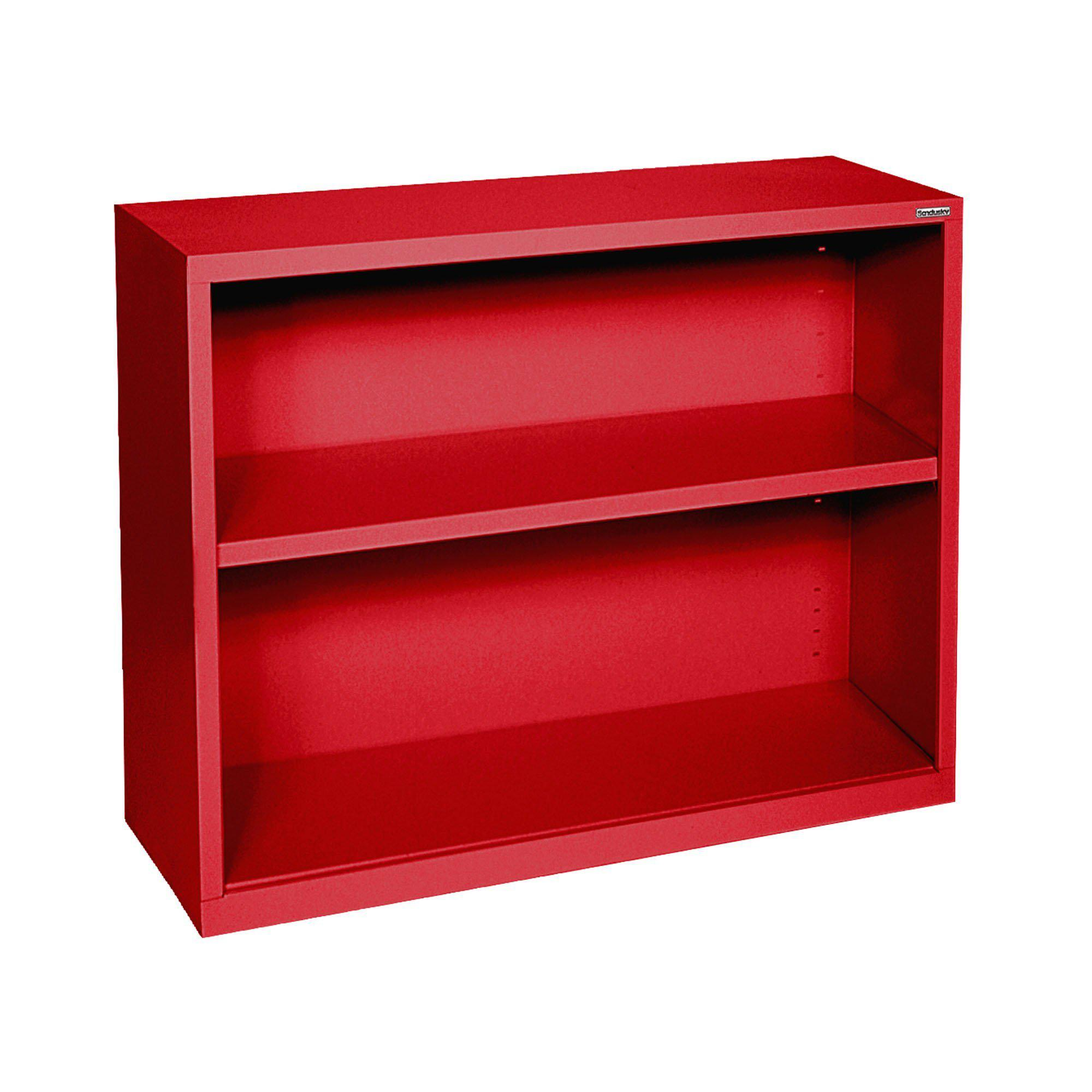 Elite Series Welded Steel Bookcase, 1 Shelf and Bottom Shelf, 34 x 12 x 30, Red