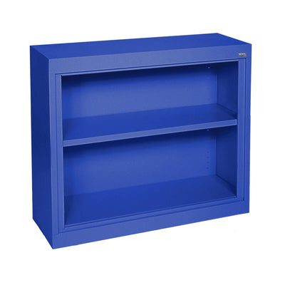 Elite Series Welded Steel Bookcase, 1 shelf and Bottom Shelf, 36 x 18 x 30, Blue