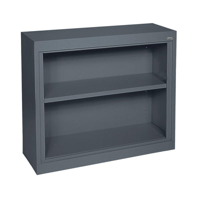 Elite Series Welded Steel Bookcase, 1 shelf and Bottom Shelf, 36x 18 x 30, Charcoal