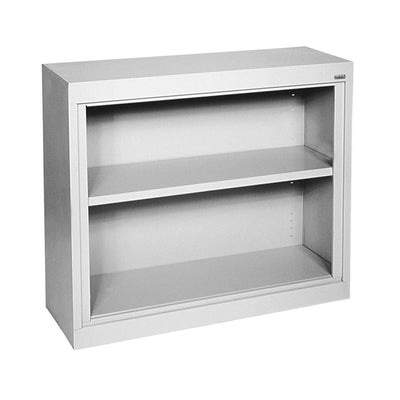 Elite Series Welded Steel Bookcase, 1 shelf and Bottom Shelf, 36 x 18 x 30, Dove Gray