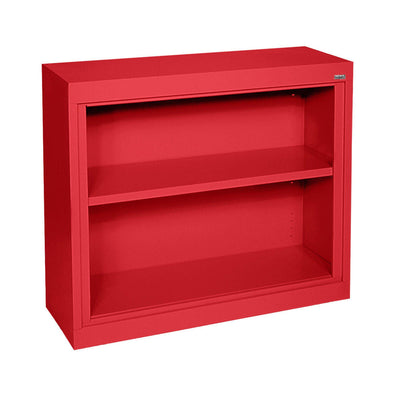 Elite Series Welded Steel Bookcase, 1 shelf and Bottom Shelf, 36x 18 x 30, Red